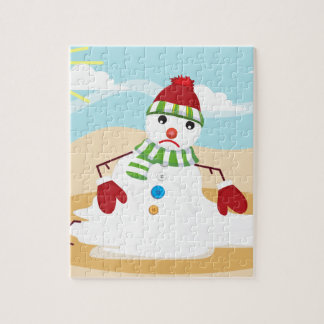 christmas in july snowman jigsaw puzzle