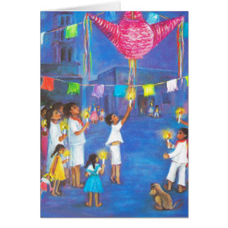 Christmas in Mexico, Candles, fireworks,  pinatas Greeting Card
