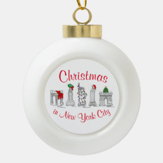 Christmas in New York CIty NYC Holiday Landmarks Ceramic Ball Christmas Ornament