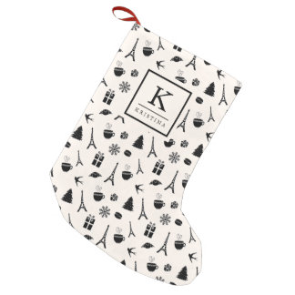 Christmas in Paris   Monogrammed Small Christmas Stocking