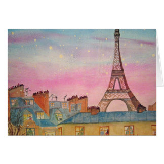 Christmas in Paris Watercolor Card