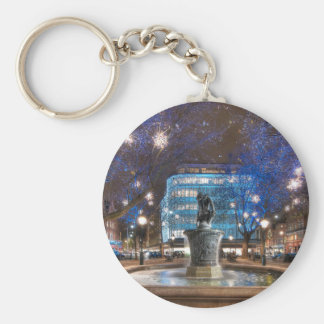 Christmas in Sloane Square Basic Round Button Key Ring