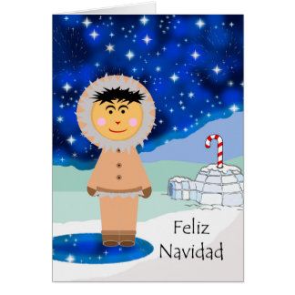 Christmas in Spanish, Feliz Navidad, Winter Eskimo Card