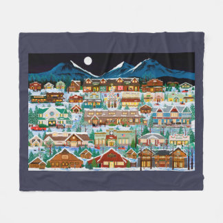 Christmas in the Cascade Village Fleece Blanket