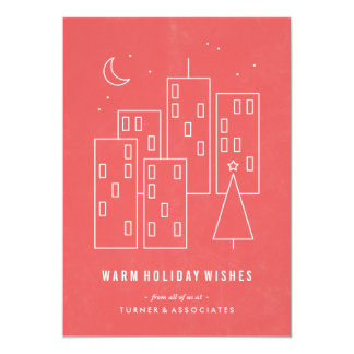 Christmas in the City Holiday Card - Red 13 Cm X 18 Cm Invitation Card