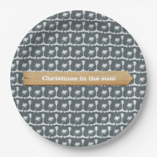 Christmas in the Sun Beach Christmas Paper Plate
