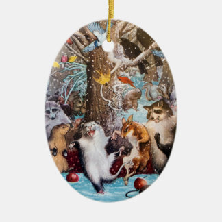 Christmas in the Woods Funny Animal Ornament