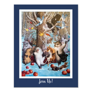 Christmas in the Woods Funny Animals Invitation