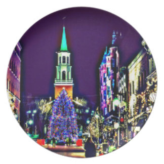 Christmas in town plate