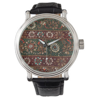 Christmas India Indian Textile Embroidery Bling Wristwatch