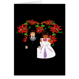 Christmas Interracial Wedding Couple Heart Wreath Card
