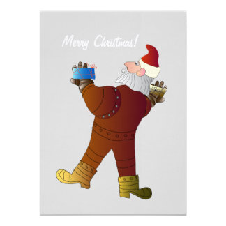 Christmas Invitation Card with Santa