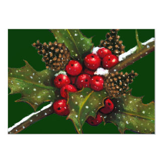 "CHRISTMAS INVITATION: CAROL SING: HOLLY, BERRIES 5"" X 7"" INVITATION CARD"