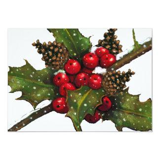 "CHRISTMAS INVITATION: CAROL SING: HOLLY, BERRIES 5"" X 7"" INVITATION CARD"