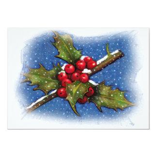 CHRISTMAS INVITATION: CAROL SING: HOLLY, BERRIES 13 CM X 18 CM INVITATION CARD