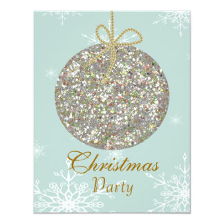 Christmas Invitations with ornaments and snowflake
