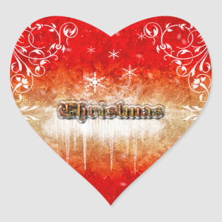 Christmas is coming, snowflakes and ice heart sticker