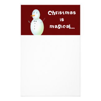 Christmas is Magical Snowman Stationary Stationery Paper