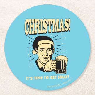 Christmas: It's Time To Get Jolly Round Paper Coaster
