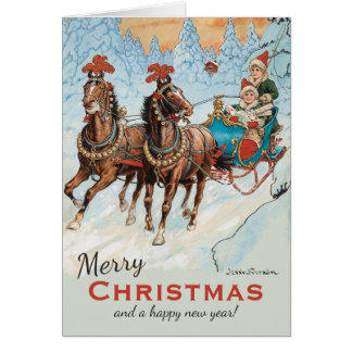 Christmas Jenny Nyström CC0933 Children in sleigh Card