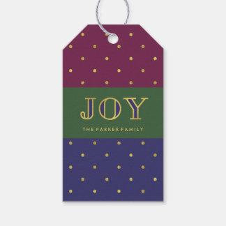 Christmas Jewel Color Stripes   Joy Gift Tags