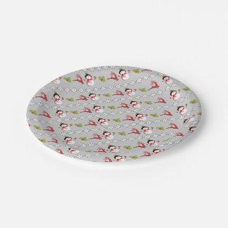 Christmas Jolly Snowmen Deer Holly Cute Patterned Paper Plate