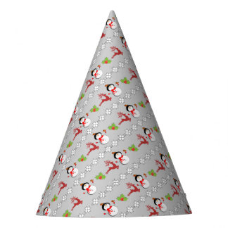 Christmas Jolly Snowmen Deer Holly Cute Patterned Party Hat