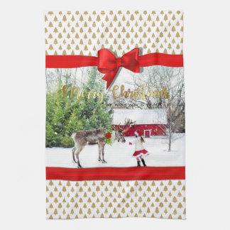 Christmas Joy and Peace Photo Tea Towel