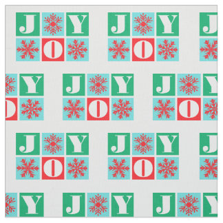 Christmas Joy and Snowflakes Pattern Fabric