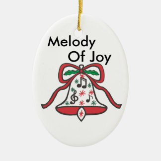 Christmas Joy Bell Double-Sided Oval Ceramic Christmas Ornament