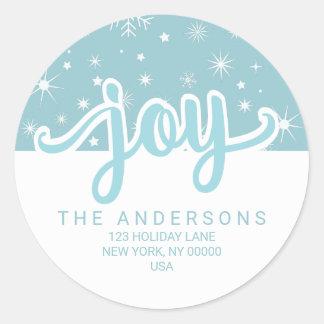 Christmas Joy Blue and White Handwritten Address Round Sticker