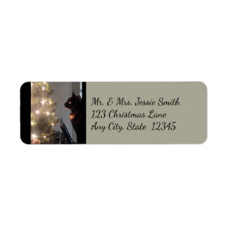 Christmas Joy Calico Cat Return Address Labels