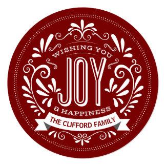 CHRISTMAS JOY CHALK ART ROUND PHOTO GREETING 13 CM X 13 CM SQUARE INVITATION CARD