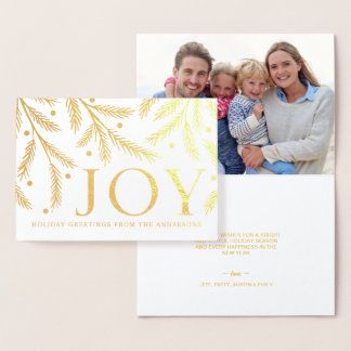 Christmas Joy - Cheerful Holiday Tree Branches Foil Card