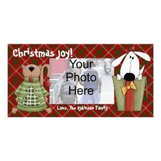 Christmas Joy Dog and Cat Custom Photo Cards