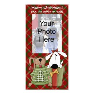 Christmas Joy, Dog & Cat Custom Photo Cards, Vert. Customised Photo Card