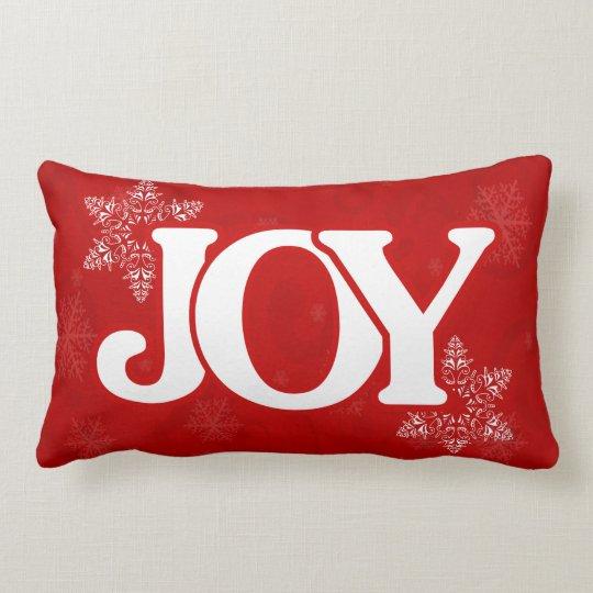 Christmas JOY Elegant Red Snowflake Pattern Lumbar Cushion