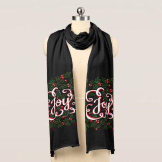 Christmas Joy Flourishes Holly Berries & Leaves Scarf