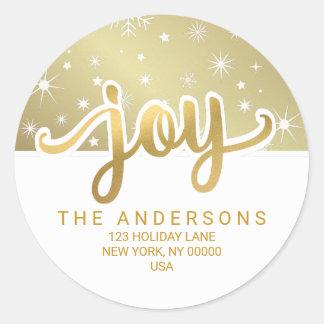 Christmas Joy Gold Handwritten Return Address Round Sticker