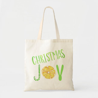 Christmas joy green candy cane and lemon fancy tote bag