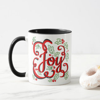 Christmas Joy Holly Berries & Leaves Mug