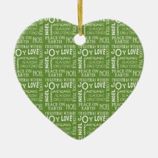 Christmas Joy Love Noel Peace Heart Ceramic Heart Decoration
