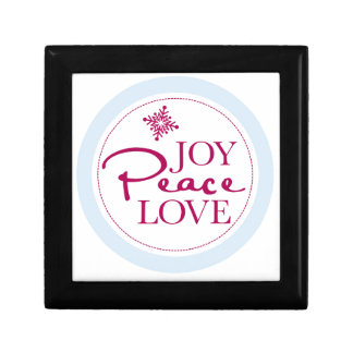 Christmas Joy Peace & Love Snowflake Small Square Gift Box
