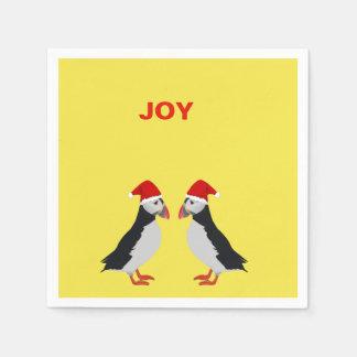 """Christmas """"Joy"""" puffin cocktail napkins Disposable Serviette"""