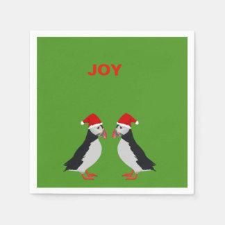"Christmas ""Joy"" puffin cocktail napkins Paper Napkins"