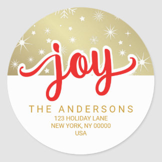 Christmas Joy Red and Gold Handwritten Address Round Sticker