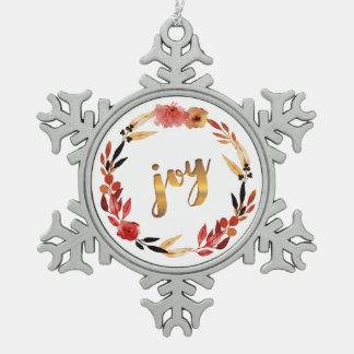 Christmas Joy Watercolor Wreath ID292 Snowflake Pewter Christmas Ornament