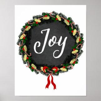 Christmas - Joy Wreath - White Poster