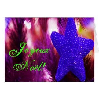 Christmas Joyeux Noel Blue Christmas Star I Greeting Card