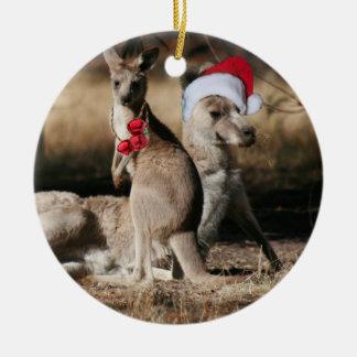 Christmas Kangaroos Australian Style Ceramic Ornament
